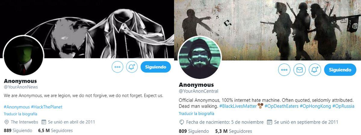 Las cuentas más seguidas de Anonymous en Twitter.