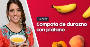 Compota de durazno con plátano para bebes de 7 meses a más.